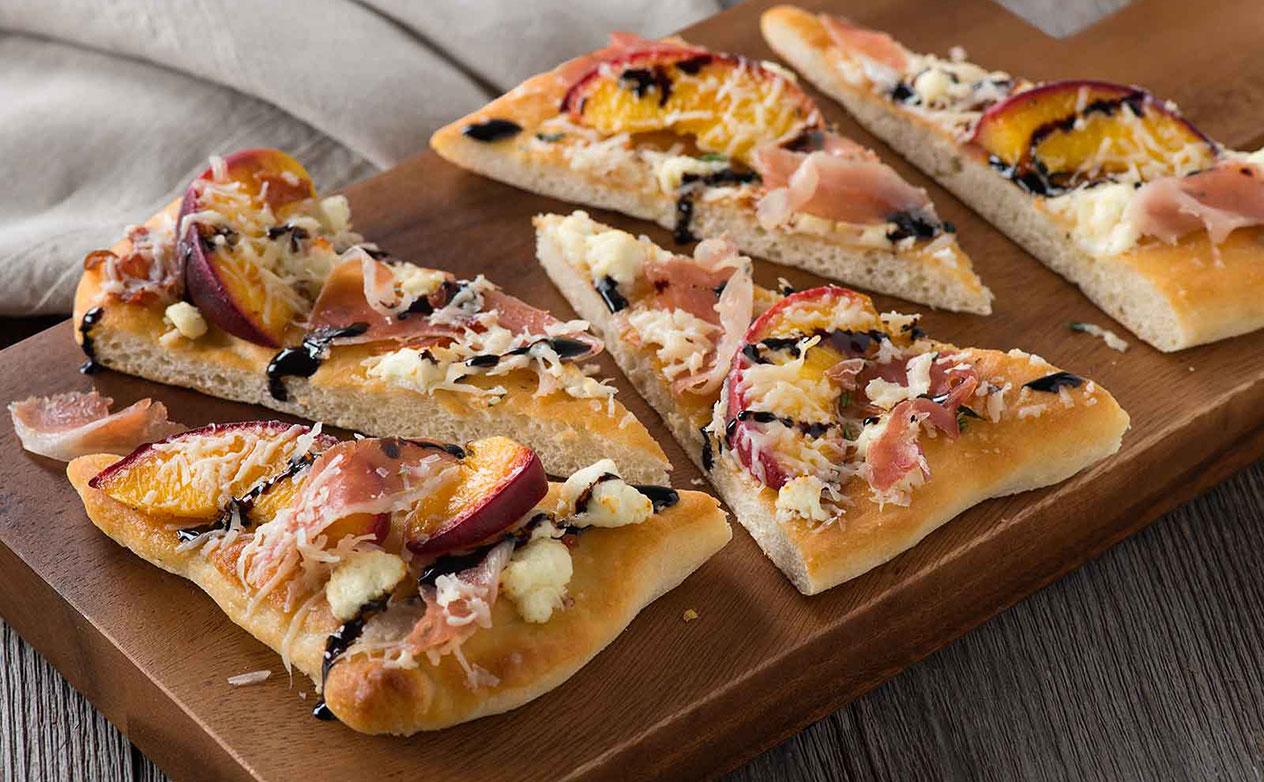 Peach, Prosciutto and Goat Cheese Flatbread Recipe at ...