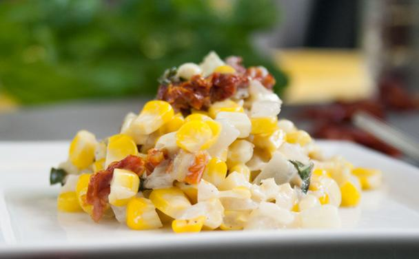 Sweet Summer Corn with Basil and Sundried Tomatoes