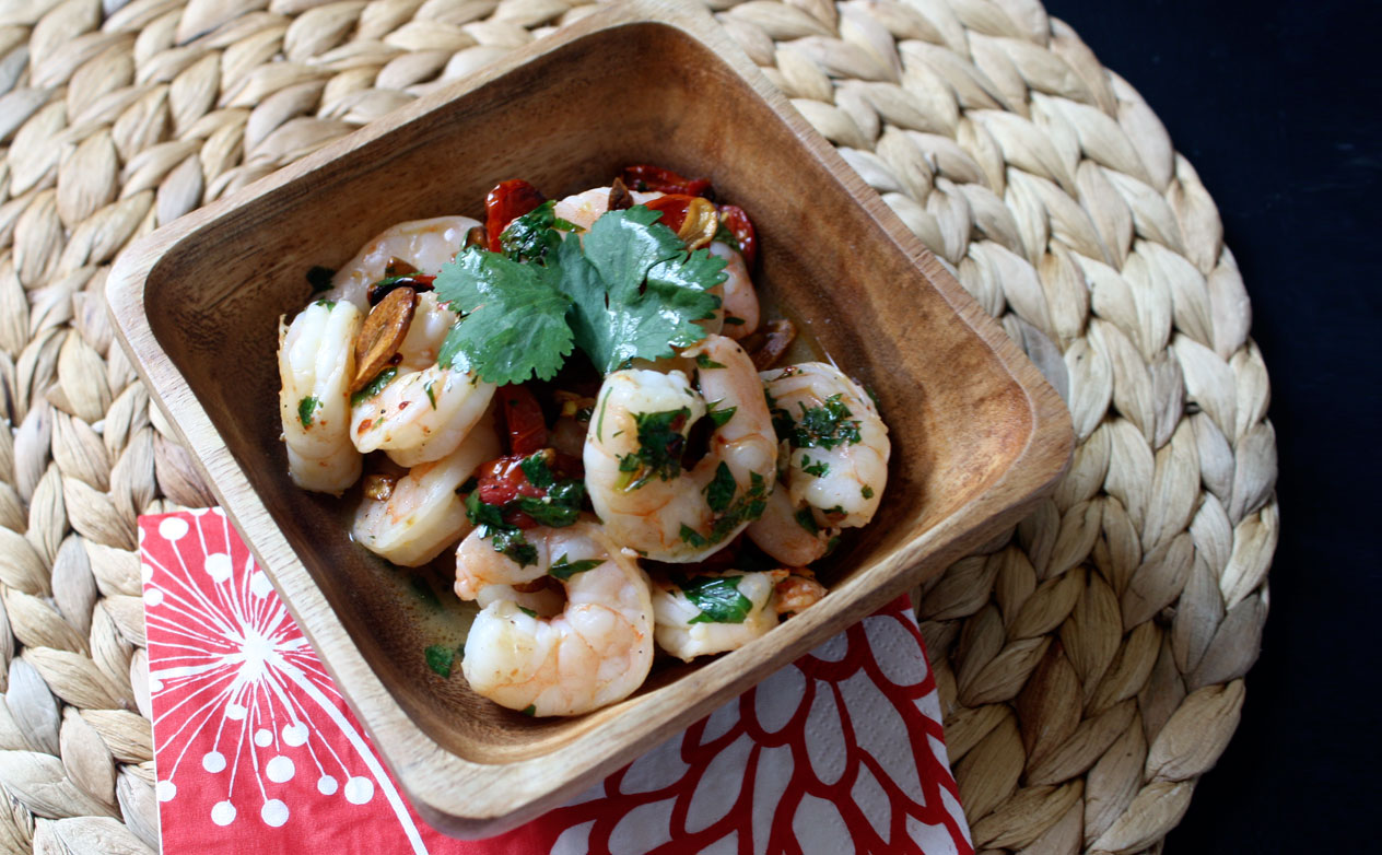 Lime Cilantro Shrimp With Crispy Garlic