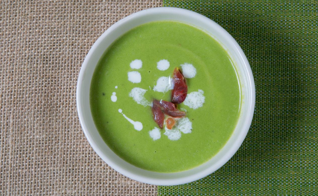 Spring Pea Soup with Crispy Prosciutto
