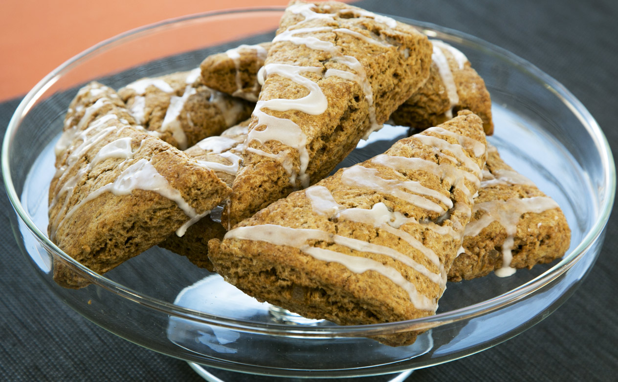 Pumpkin Scones with Vanilla Glaze