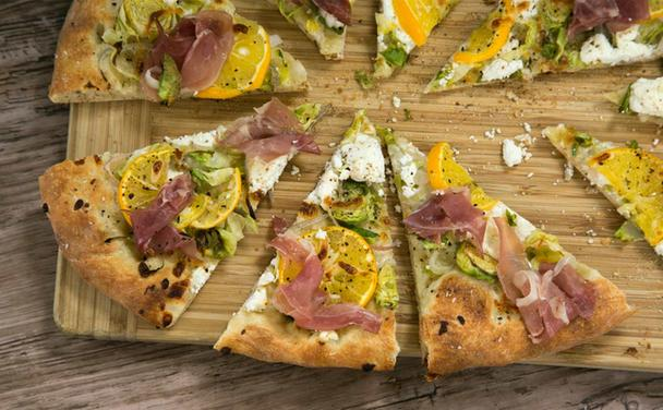 Brussels Sprouts and Meyer Lemon Pizza