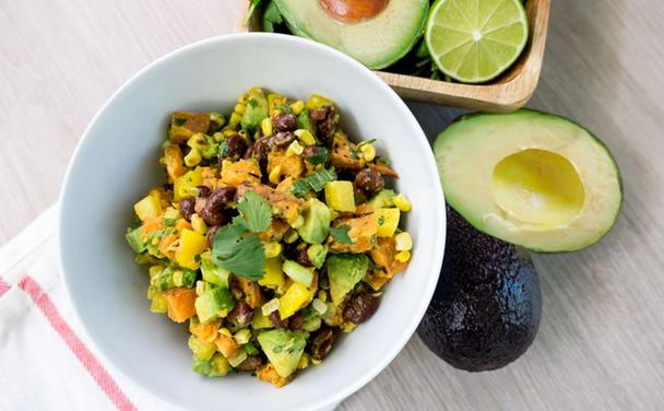 Grilled Sweet Potato and Avocado Salad