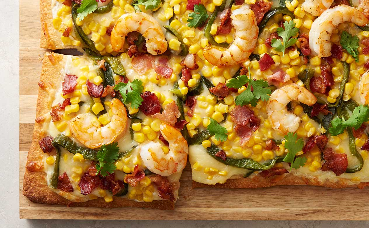 Poblano Shrimp Flatbread
