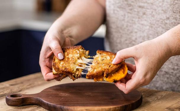 Grilled Cheese with Sweet Potatoes and Caramelized Onions