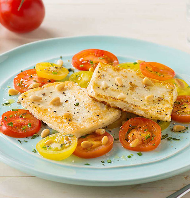 fried halloumi and tomato salad substitute rice wine vinegar for the ...